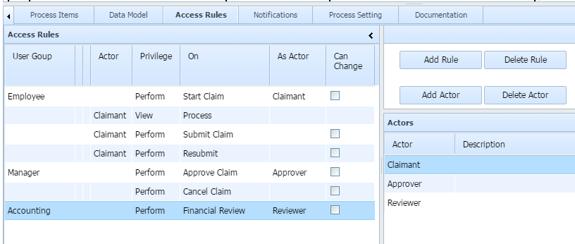 access rules grid